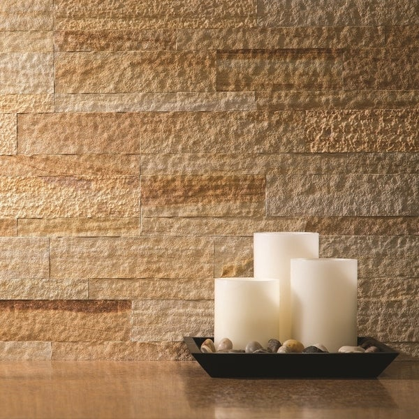 ... inch x 24-inch Golden Sandstone Peel and Stick Stone Backsplash