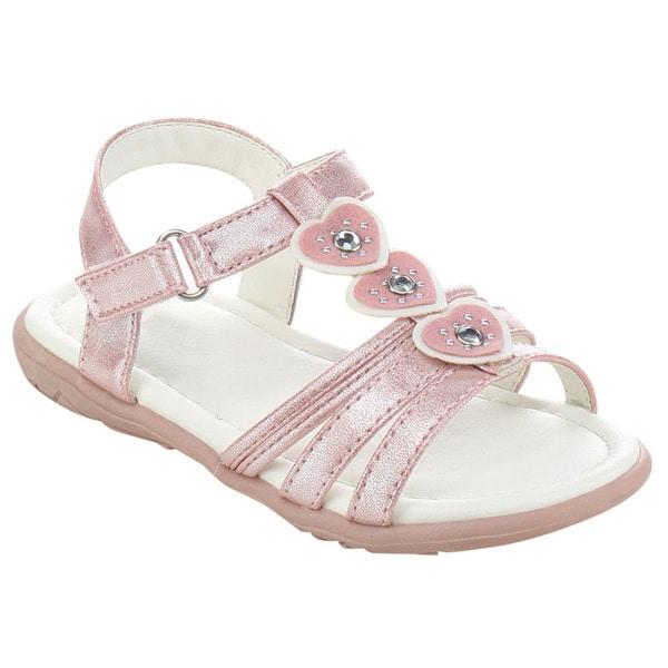 JELLY BEANS DB91 Girl's Heart-shaped Deco Flat Gladiator Ankle Sandal