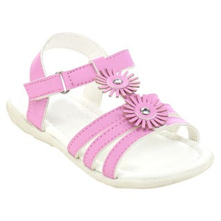 Jelly Beans Girls' Pink or White Faux-leather Flower Sandals