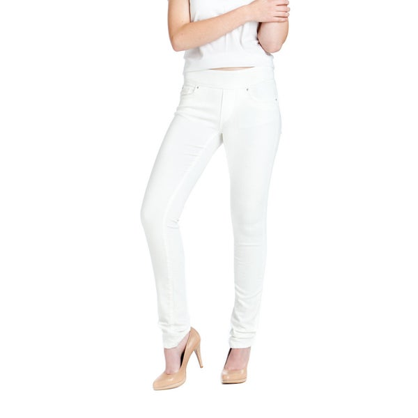 Bluberry Women's White Denim Slim-leg Jeans