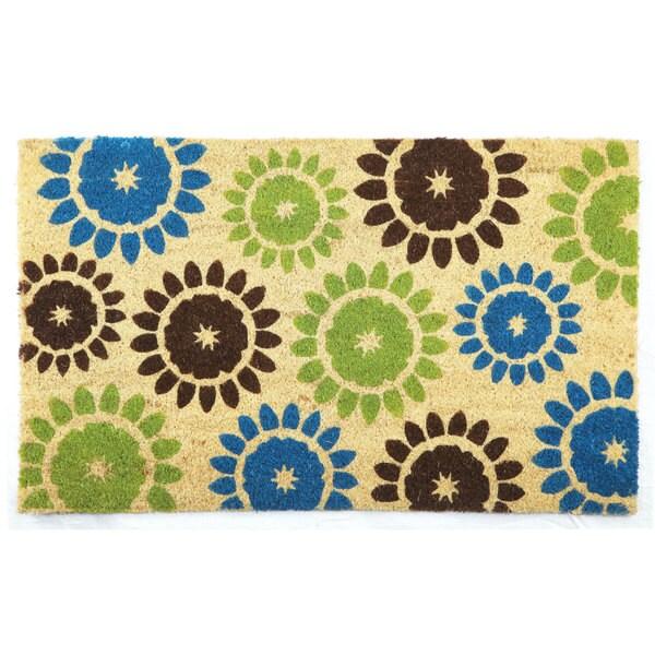 Blue/Lime Floral Printed Coir Doormat