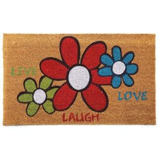 'Live Laugh Love' Floral Printed Natural Coir Doormat