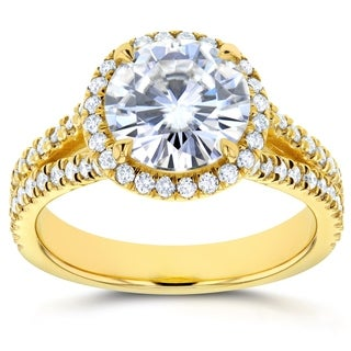 Annello 14k Gold 2 2/5ct TCW Round Classic Moissanite and Diamond Halo Split Shank Engagement Ring (G-H, I1-I2)