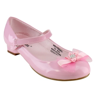 JELLY BEANS Girl's Faux Leather Mary Jane Bow Dress Shoes
