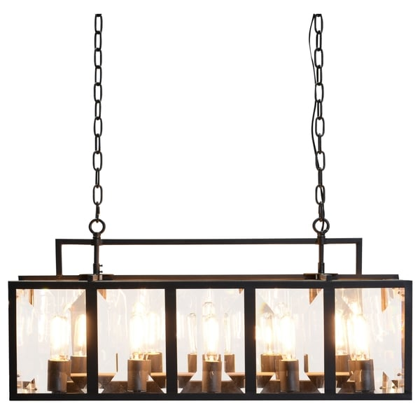 Kosas Home Lisa Black Iron and Glass 35-inch Chandelier