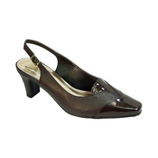 FIC PEERAGE Wendi Women's Black, Brown Leather, Patent Leather Extra Wide Width Slingback Professional Shoes