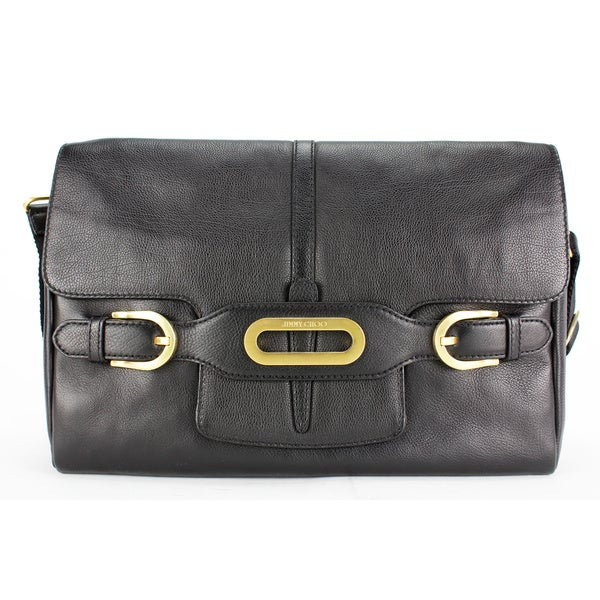 Jimmy Choo Black Leather Women's Messenger Bag