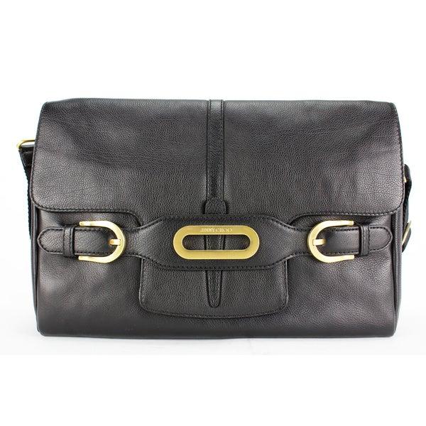 Jimmy Choo Black Leather Women's Messenger Bag