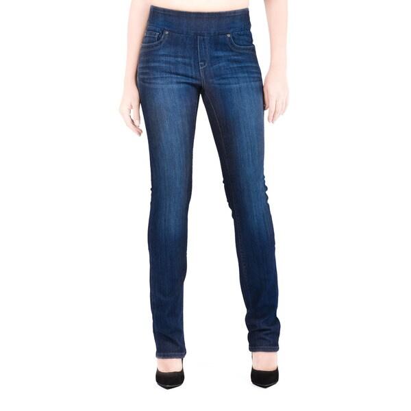 Bluberry Women's Katie Dark Navy Plus-size Rinse Wash Slim-leg Denim Jeans