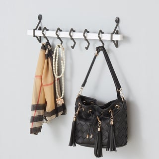Danya B White Metal Wall Mount Rack with Hanging Hooks
