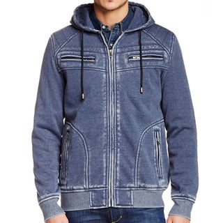 XRAY Men's Burnout Cotton Fleece Zip-up Sweater