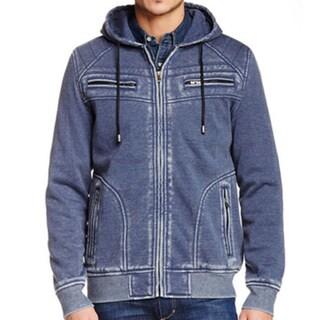 XRAY Men's Burnout Cotton Fleece Zip-up Sweater