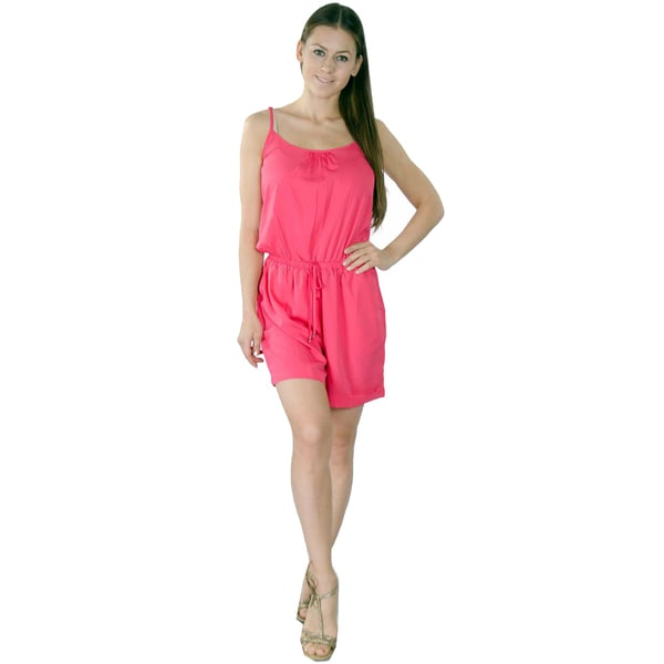 Women's Polyester Chiffon Adjustable Spaghetti Strap Romper Shorts With Side Pockets and Elastic Waistband