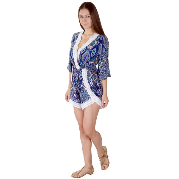 Women's Multicolor Polyester and Lace Embellished V-neck Casual Romper Playsuit