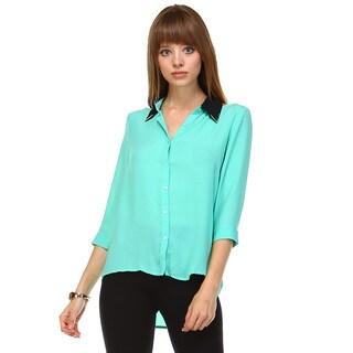 Tea n Rose Women's Cold Shoulder White/Blue/Pink/Orange Polyester 3/4-sleeve Button-front Chiffon Blouse