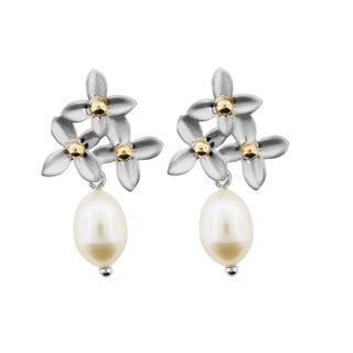 Meredith Leigh 14k Yellow Gold and Sterling Silver Pearl Flower Earrings