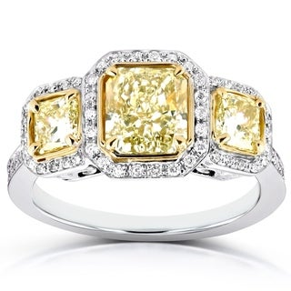 Annello 14k Two Tone Gold Certified 2ct TDW Fancy Yellow Diamond Three Stone Halo Radiant Cut Engagement Ring (FY, VS1)