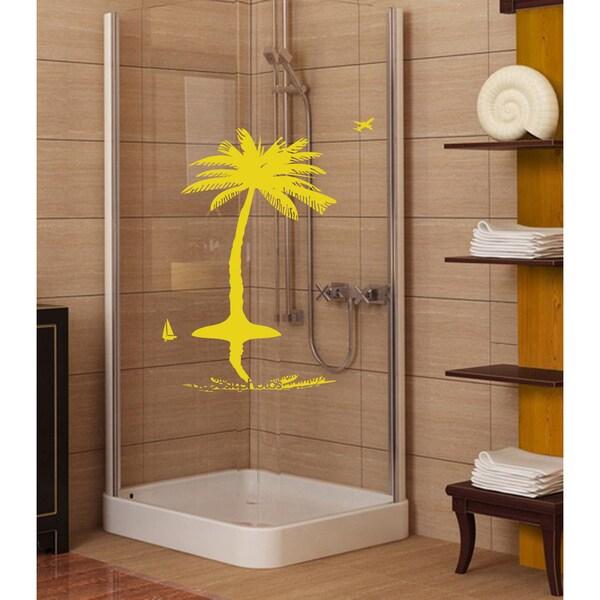 The sun beach palm sand Wall Art Sticker Decal Yellow