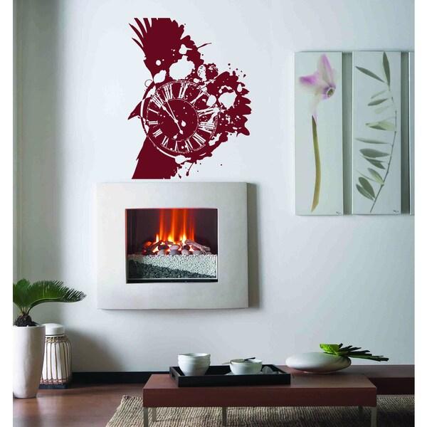 Bird clock time arrow Wall Art Sticker Decal Red