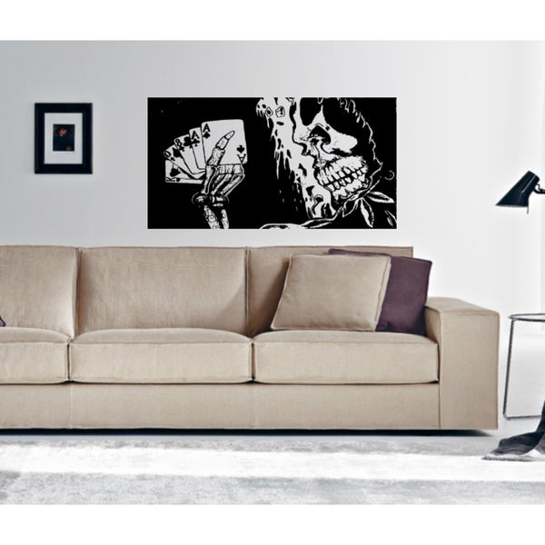 With cards skeleton Wall Art Sticker Decal