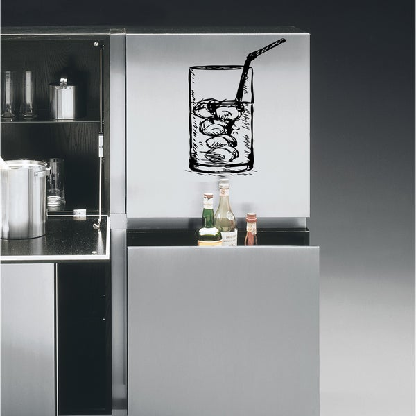 Glass of water with ice Wall Art Sticker Decal