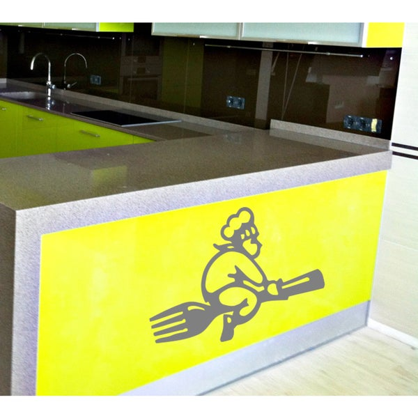 Cook on a fork Wall Art Sticker Decal Silver