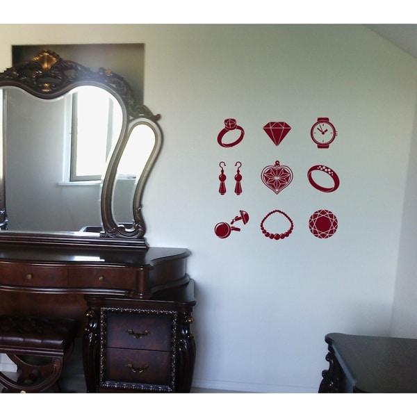 Bijouterie ring clock diamonds earrings Wall Art Sticker Decal Red