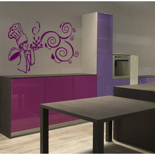 Chef and great food Wall Art Sticker Decal Purple