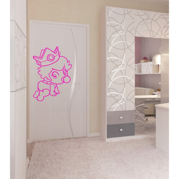 Little kid with a crown Wall Art Sticker Decal Pink