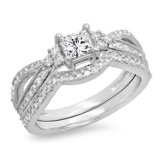 14k Gold 1ct TDW Princess and Round Diamond Bridal Split Bridal Set (I-J, I1-I2)