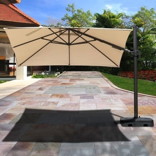 Atlantic Liberty Aluminum Tan Patio Umbrella with Base