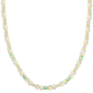 Dolce Giavonna Gold Overlay Emerald XO Necklace
