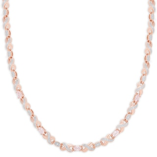 Dolce Giavonna Rose Gold Overlay Morganite XO Necklace