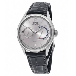 Oris Men's 01 111 7700 4061-Set 1 23 71 'Artelier' Silver Dial Grey Leather Strap Swiss Automatic Watch