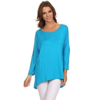 Women's Blue/Red/Black/Grey/Green/Pink/Yellow/Brown/Off-White Rayon/Spandex Solid Dolman Sleeve Top