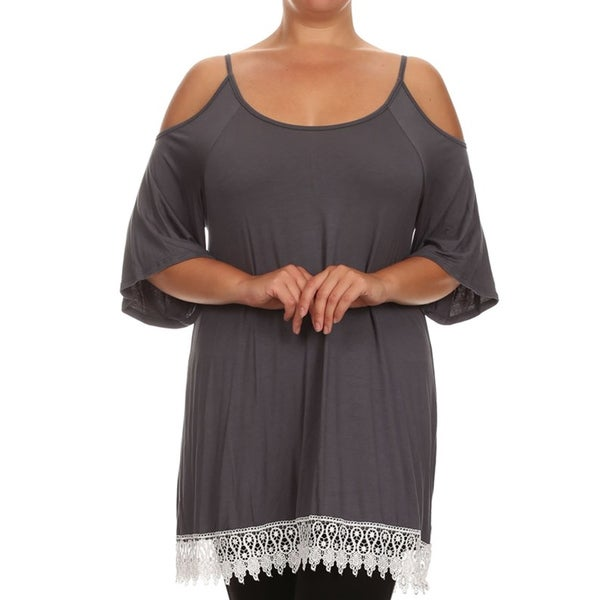 MOA Collection Women's Plus-size Rayon and Spandex Shoulder Cut-out Crochet Lace Trim Tunic