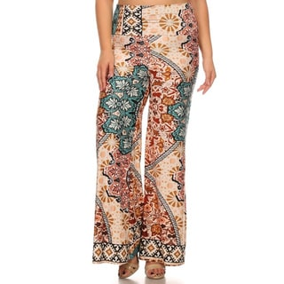 MOA Collection Women's Multicolor Polyester/Spandex Plus-size Palazzo Pants