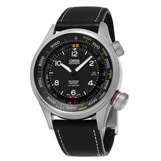 Oris Men's 733 7705 4134 LS 19 'Big Crown' Black Dial Black Leather Strap ProPilot Altimeter Swiss Automatic Watch