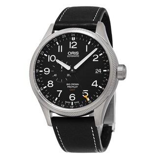 Oris Men's 748 7710 4164 LS 19 'Big Crown' Black Dial Black Leather Strap ProPilot GMT Swiss Automatic Watch