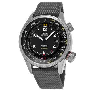 Oris Men's 733 7705 4164-Set 5 23 17FC 'Big Crown' Black Dial Grey Textile Strap ProPilot Altimeter Swiss Automatic Watch
