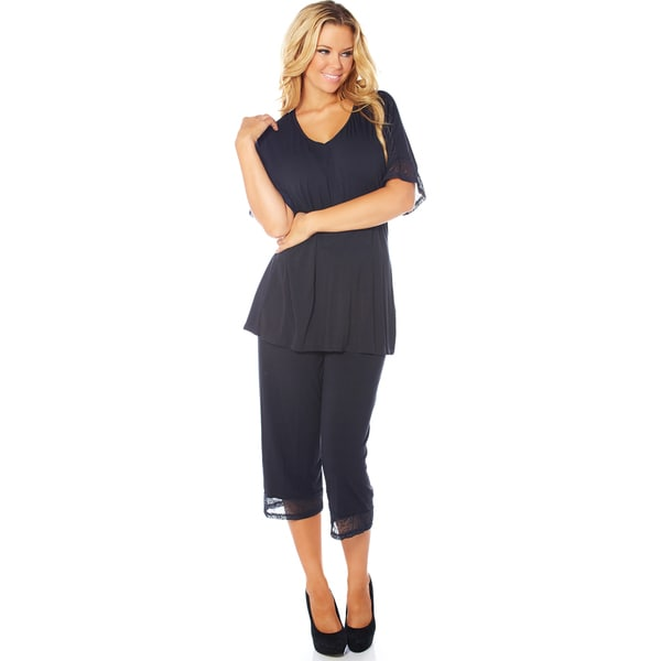Rhonda Shear CozyKnit Women's Solid-colored Rayon and Spandex Pajama Set