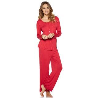 Rhonda Shear Shimmer PJ Women's Solid-colored Rayon and Spandex Pajama Set