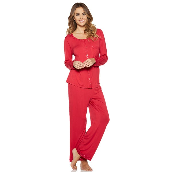 Rhonda Shear Shimmer PJ Women's Solid-colored Rayon and Spandex Pajama Set