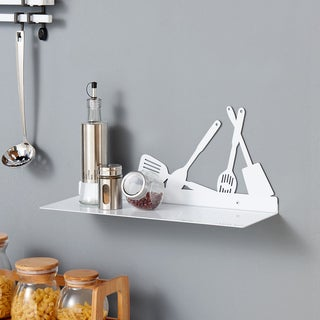 Danya B White Metal Kitchen Utility Shelf with Kitchen Utensils Design
