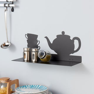 Danya B Black Metal Kitchen Utility Shelf with Teapot and Coffee Cups Design