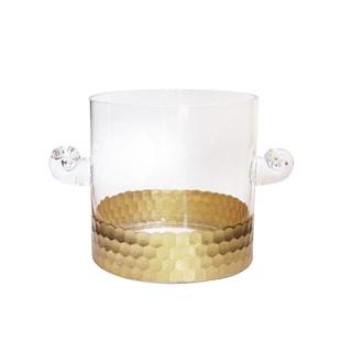 Fitz Floyd Daphne Gold Glass Ice Bucket