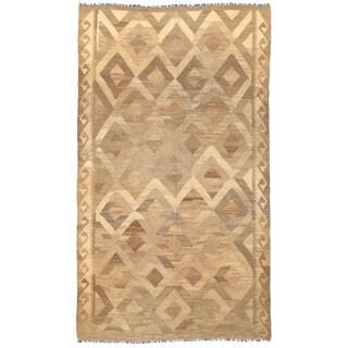 Herat Oriental Afghan Hand-woven Mimana Kilim Ivory/ Tan Wool Rug (4'8 x 8')
