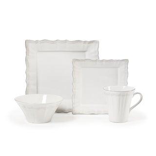 Mikasa Alviano White/Silver Stoneware Place Setting (Pack of 4)