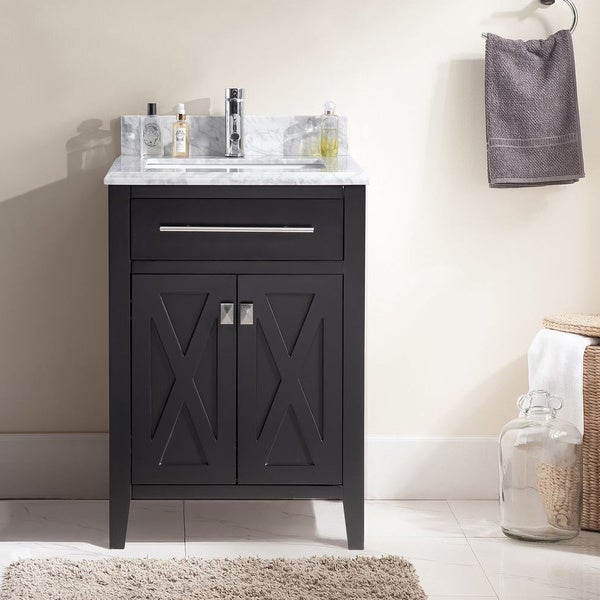 Wimbledon Collection 24 Inch Single Vanity with Marble Countertop