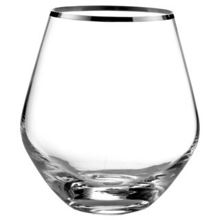 Fitz & Floyd Michel Silver-rim 4-piece 16.9-ounce Stemless Rounded Glasses Set